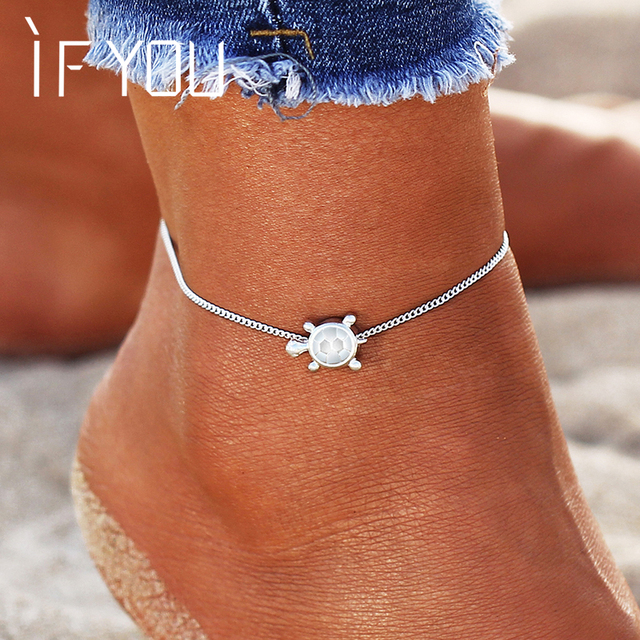 IF YOU New Design Sea Turtles Single Layer Anklet Vintage Dragonfly Style Charm Chain Foot Anklet For Women Jewelry Drop Shipper