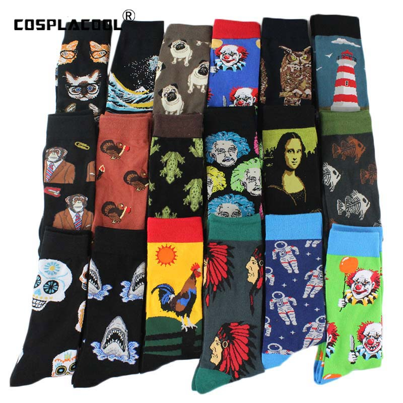 Happy Cool Harajuku Crew Mens   Socks   Hip Hop Street Big Size Funny   Socks   Men Skateboard Painting Calcetines Homme Divertidos Sox