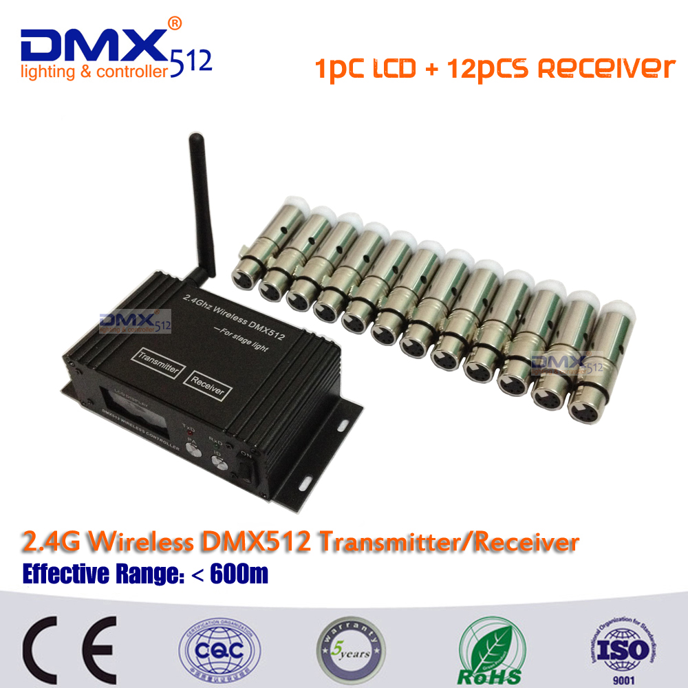 DHL Free shipping DMX512 wireless LCD Display cable transmitter&receiver 2.4GHz XLR DJ Disco Controller in led laser beam light dmx512 digital display 24ch dmx address controller dc5v 24v each ch max 3a 8 groups rgb controller