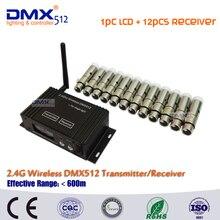 DHL Бесплатная доставка DMX512 беспроводной ЖК-дисплей Дисплей кабель передатчик и приемник 2.4 ГГц XLR диско DJ контроллер в светодиодный лазерный луч свет