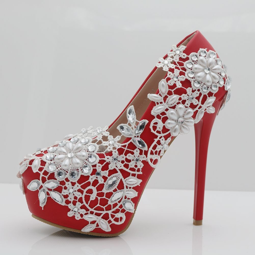 ФОТО Women 's Pumps White/red Wedding Shoes Lace flowers Bridal Shoes waterproof Platform Rhinestone High Heels Free Shipping Party