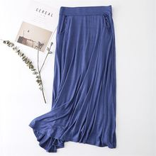 New Long Skirt Elegant Pocket Women Pastel Pleated Maxi Cotton Skirts 2018 Beach Boho Summer Skirts Faldas Saia Tulle Skirt D158 цена