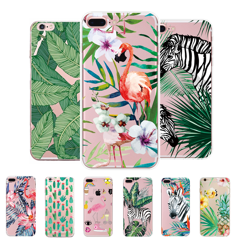 Soft Silicone Case For iPhone 5 5s SE 6 6s plus TPU art lovely Flamingo zebra print Soft coque fundas Cover For iphone 7 plus