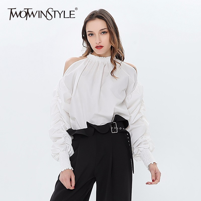 TWOTWINSTYLE Off Shoulder Sexy Women's Shirt Ruched Lantern Sleeves Blouse Tops Female White Casual Clothes Korean 2020 Summer
