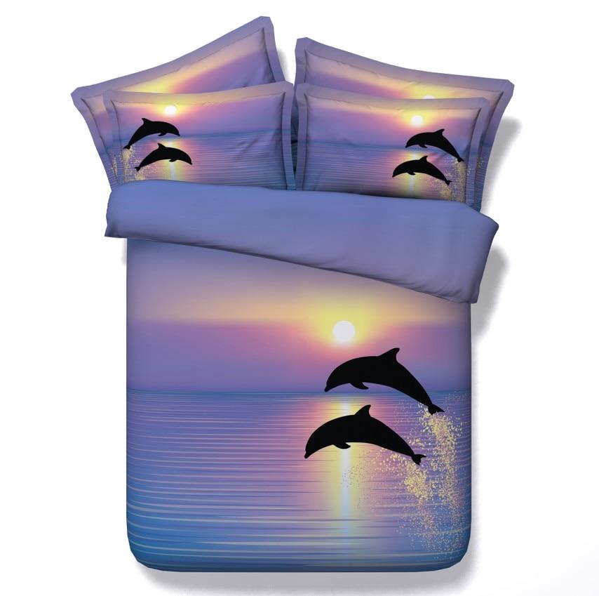 3d Dolphin Bedding Set Sunset Quilt Duvet Cover Bed Sheet