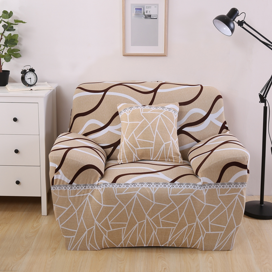 Good Bright Color Single Double Three Four Seat Striped Sofa Cover Geometric  Print L Shaped Couch Covers