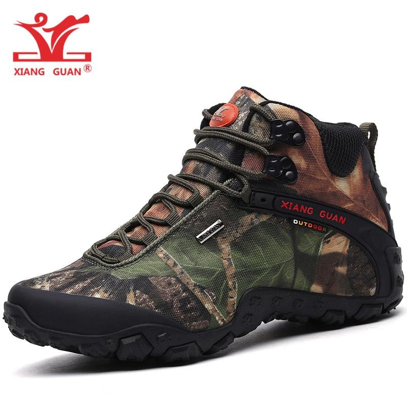 XIANG GUAN Men Hiking Shoes For Man Waterproof Trekking Boots High Top Camouflage Sports Climbing Shoe Outdoor Walking Sneakers