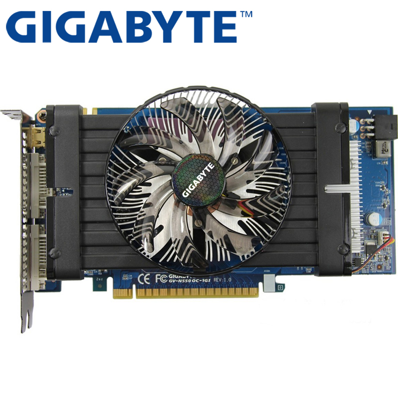 GIGABYTE Графика карта оригинальный GTX 550Ti 1 ГБ 192Bit GDDR5 видеокарты для nVIDIA Geforce GTX 550 Ti, HDMI, DVI б/у GTX 650 750