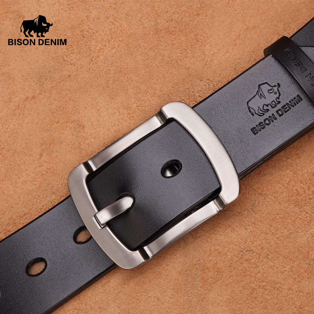 BISON DENIM Vintage Cow Leather   Belt   Men Casual Pants Genuine Leather Men's   Belts   Waistband Pin Buckle Strap For Male N71234