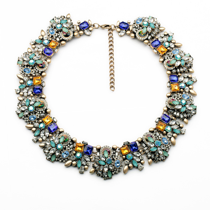 Fashion Women Jewelry Luxury Glass Flower Necklaces For Girls Hyperbole Colorful Acrylic Crystal Choker Necklaces Accessories