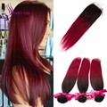Brazilian Ombre human hair Bundles with Closure T1b/Burgundy Silky Straight 3 Bundles with 1 Closure 7A grade Cheap price