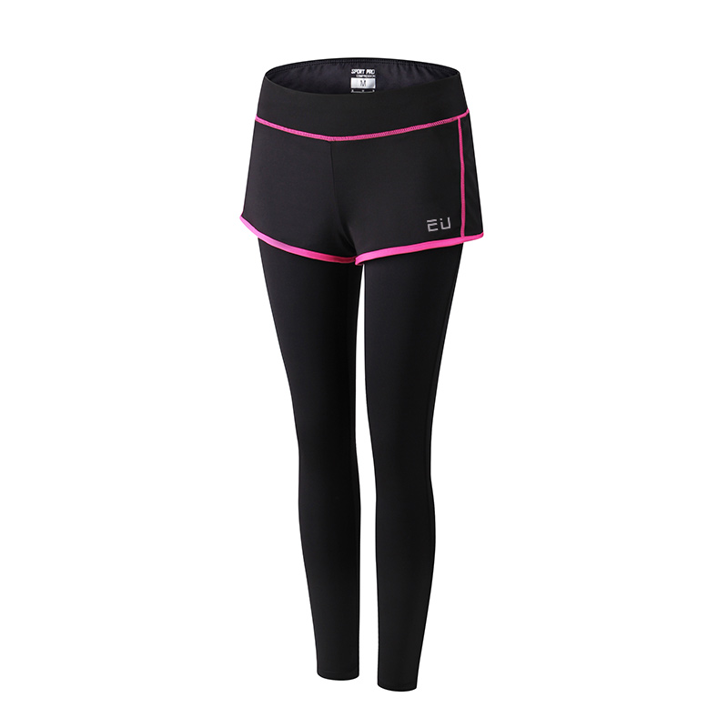 Women Running Pants with Shorts Low-waisted Compression Base Layer tights Sport Dance Fitness Yoga Trousers GYM Elastic Leggings