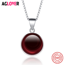 New Arrivals 925 Sterling Silver Necklace Women Charm Red Crystal Pendant Luxury Female Jewelry