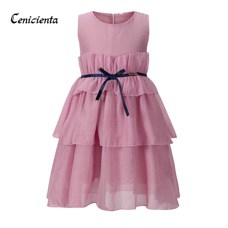 Cenicienta Girls Dress Elegant Cotton Layered Draped Sleeveless Solid Formal Girl Costumes for Casual and Daily Princess Dress casual sleeveless solid color high low hem midi dress