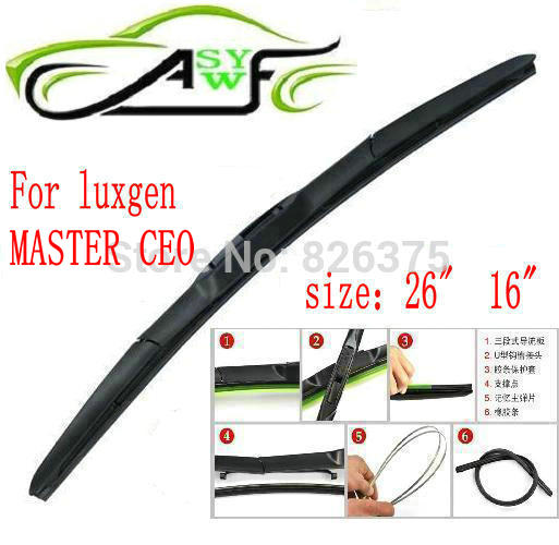 Free shipping car wiper blade for Luxgen MASTER CEO 2011-2012 year Size 26 16 Soft Rubber WindShield Wiper Blade 2pcs/PAIR
