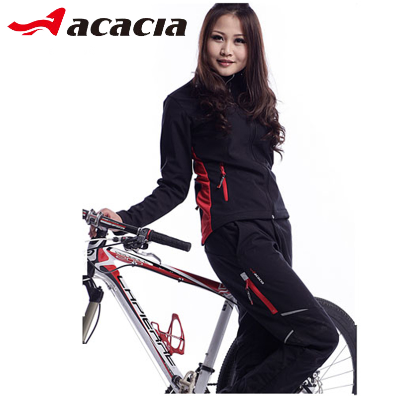 ACACIA Winter Fleece Warmly Jersery Cycling Suits For Women Men Windproof Mountain Road Bike Bicycle Long Sleeve+pants Clothing santic cycling pants road mountain bicycle bike pants men winter fleece warm bib pants long mtb trousers downhill clothing 2017