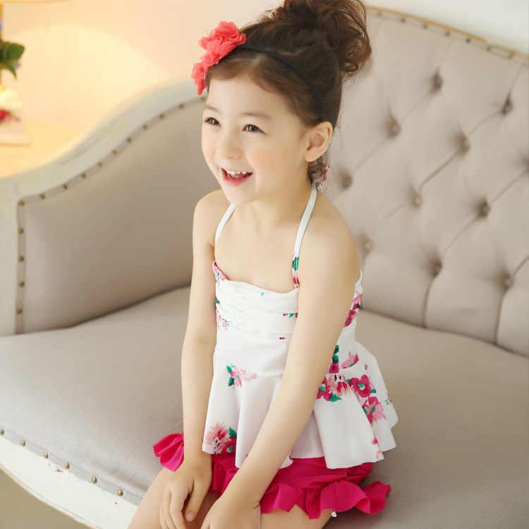 Été plage bébé fille princesse deux pièces maillot de bain enfants Floral taille haute Bikinis ensemble enfants maillots de bain coréen maillot de bain