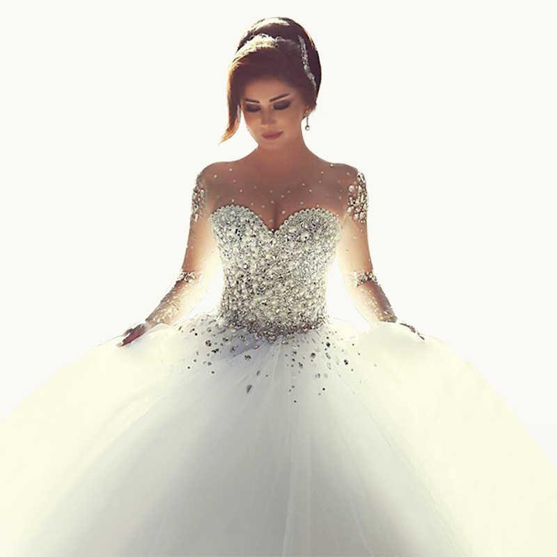 76efdfd6ce09 Luxury Crystal Corset Ball Gown Wedding Dresses Scoop Vestidos De Noiva Beaded  Tulle Wedding Bride Gowns