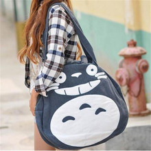 2016 Funny Cartoon Totoro Large Tote Bag Women Fashion Canvas Round Bag Teenage Girls School Book Bag Casual Travel Bag Bolso