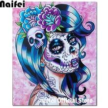 Full square round drill 5D Diy Diamond Painting  sugar skull girl  3D  Diamond 31c4842772cb