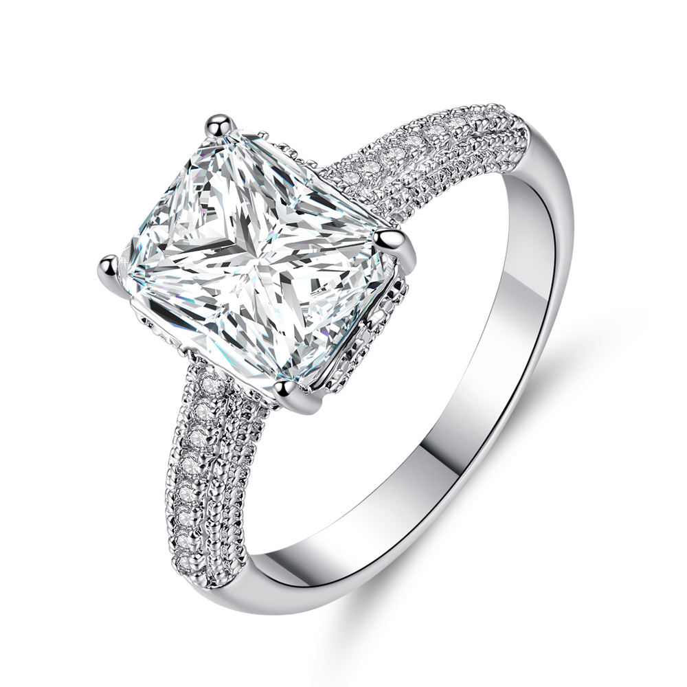 Cinily Stone Jewelry Zircon Ring-Size Wedding-Gift Silver-Plated White Women for 6-9