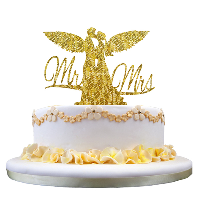 Free Shipping Wedding Decors Gold Silver Couple Acrylic Cake Topper ...
