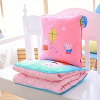 Genuine 1pc Peppa Pig 120*150cm Plush Summer quilt Office supplies three in one air conditioning blanket Birthday toy gift