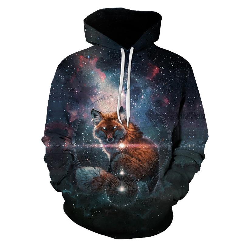 2018 3D Print Fox Galaxy Women/Men Sweatshirt Hoodies Stars Front Pocket Loose Hooded Hoodies Long Sleeve Unisex Hoodies Outwear