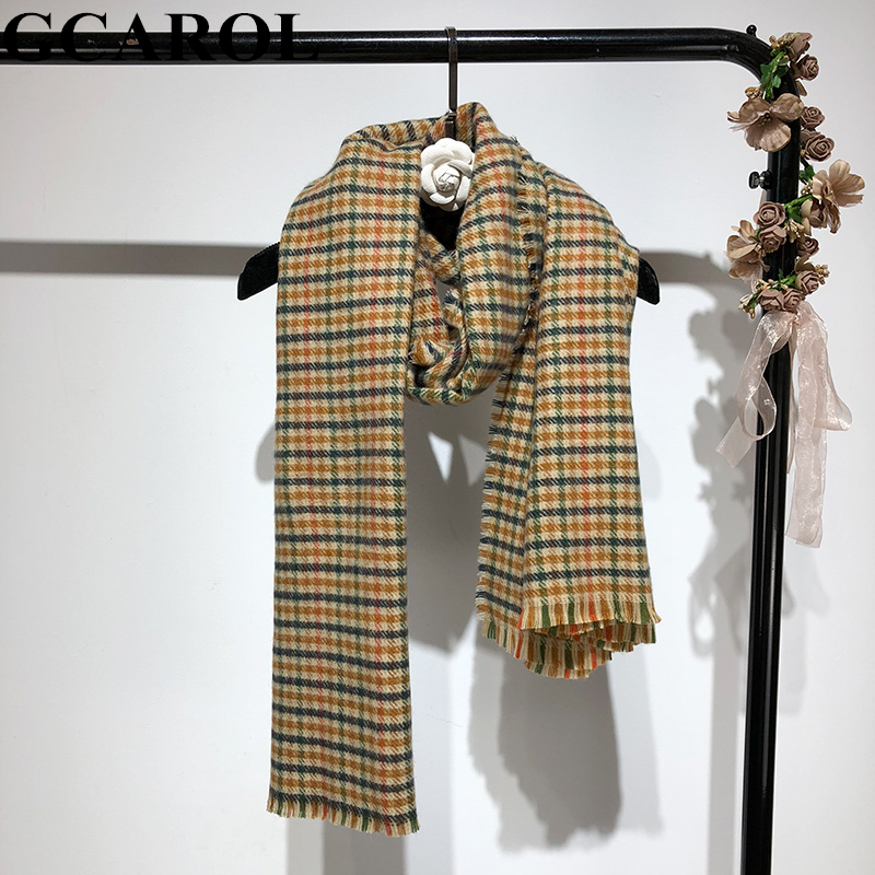 GCAROL Fall Winter Scottish Style Women Plover Case Long Scarf Faux Wool Warm Big Shawl Vintage Fashion Blanket Scarf Wraps