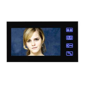 "Touch Key 7\"" Color RFID Video Door Phone Doorbell Video Intercom System 5 ID Card Video Intercom 2 Monitor Wholesale"
