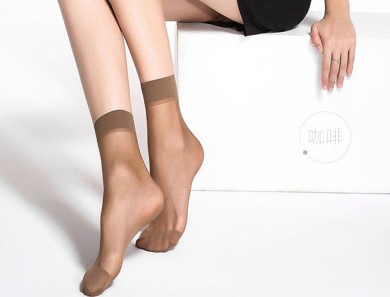 20pcs=10 Pairs Summer bamboo female Short Socks Women's socks Thin Crystal Transparent Silk Socks Girl Ankle Sox