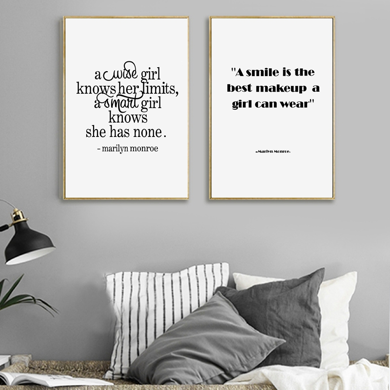 A Smile Is The Best Makeup Marilyn Monroe Wall Art Canvas Print And Poster  For Girlu0027s Room Wall Decor In Painting U0026 Calligraphy From Home U0026 Garden On  ...