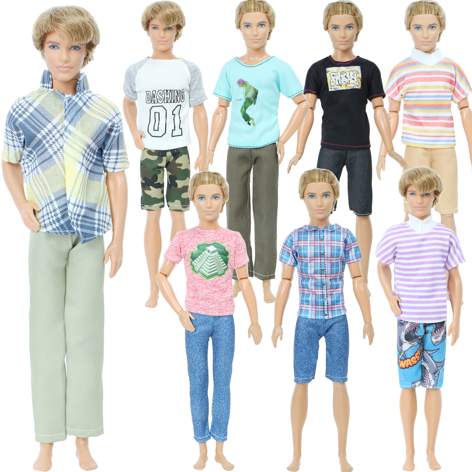 Handmade Men Outfit Mix Style T-Shirt Fashion Suit Cool Trousers Dollhouse Accessories Clothes For Barbie Ken Doll DIY Baby Toy