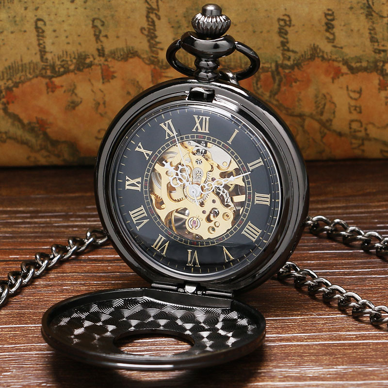 Vintage Luxury Black Metal Mechanical Pocket Watch Steampunk Watches Pin Chain Men Women Pendant Clock Gift reloj de bolsillo antique style luxury vintage gold mechanical hand winding pocket watch pendant with fob chain for mens womens reloj de bolsillo