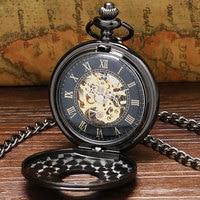 Vintage Luxury Black Metal Mechanical Pocket Watch Steampunk Watches Pin Chain Men Women Pendant Clock Gift reloj de bolsillo