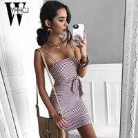 WYHHCJ 2018 Sexy Off Shoulder Summer Dress Strap Square Sleeveless Women Dress Bodycon Striped Bow Plus