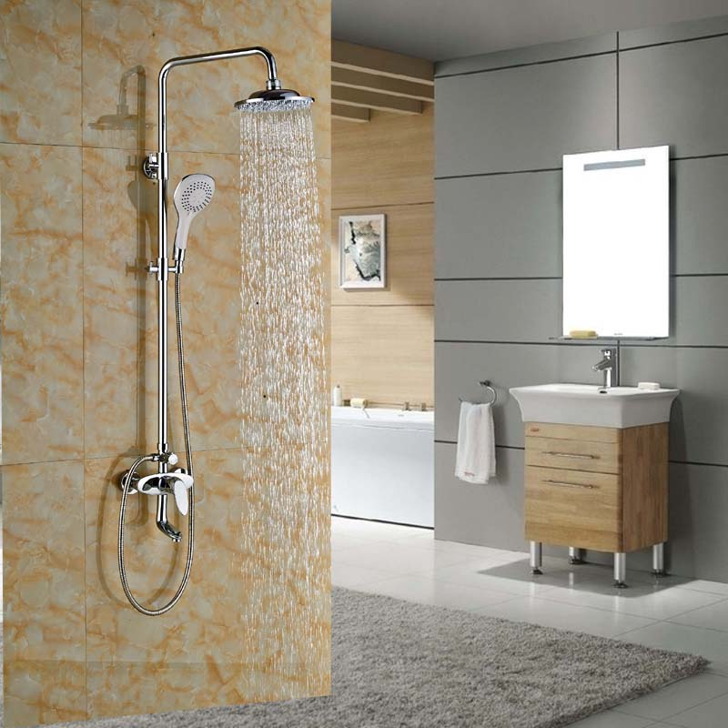 Wall Mount 12 Brass Rain Shower Faucet Tap Chrome Finished Bathtub Shower Faucet with Handshower china sanitary ware chrome wall mount thermostatic water tap water saver thermostatic shower faucet