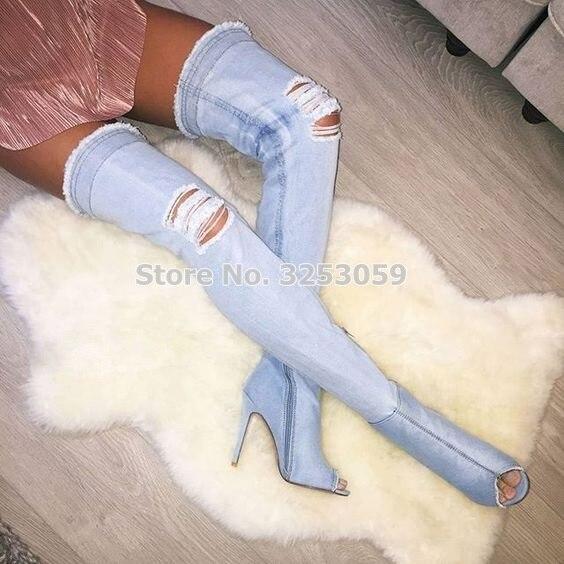 Femmes Gladiateur Bottes Chaussures customized Super Clair Picture As Denim Longue Magnifique Trous Habillées Rétro Découpe Élégantes Bleu Almudena Cuissardes Pk80Onw
