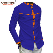2019 spring african dashiki casual shirt for men AFRIPRIDE bazin richi full sleeve single breasted mens cotton A1812009