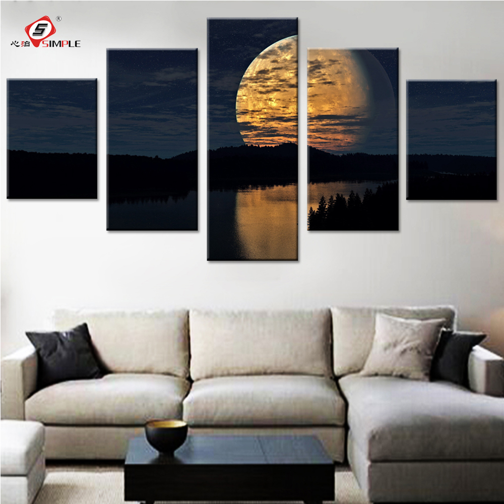 Night Sky Moon Landscape Canvas Painting Wall Decor Living Room Pictures Canvas Prints Light Moon Modern Art Drop Shipping