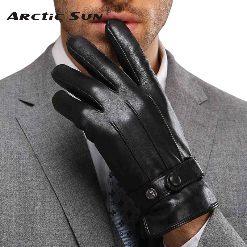 Fashion Brand Design Men Leather Gloves Thickening Thermal Plus Velvet Genuine Goatskin Glove Male Wrist Winter M021PC