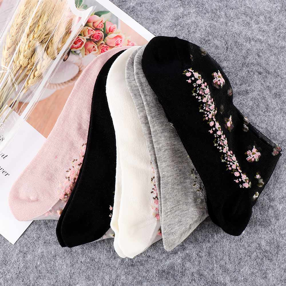 Fashion Women Lace Elastic Crystal Glass Silk Thin Ultrathin Floral Short Socks