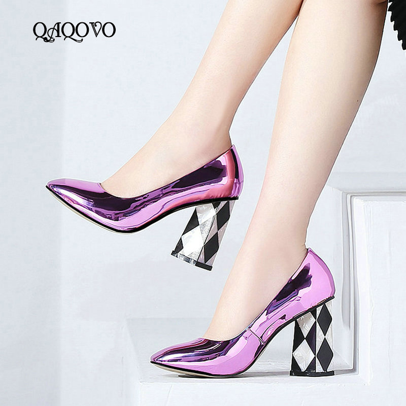 Women High Quality Patent Leather High Heel Lazy Shoes Fashion Square Toe Pumps Spring Autumn Square Heel Party Shoes WomenWomen High Quality Patent Leather High Heel Lazy Shoes Fashion Square Toe Pumps Spring Autumn Square Heel Party Shoes Women