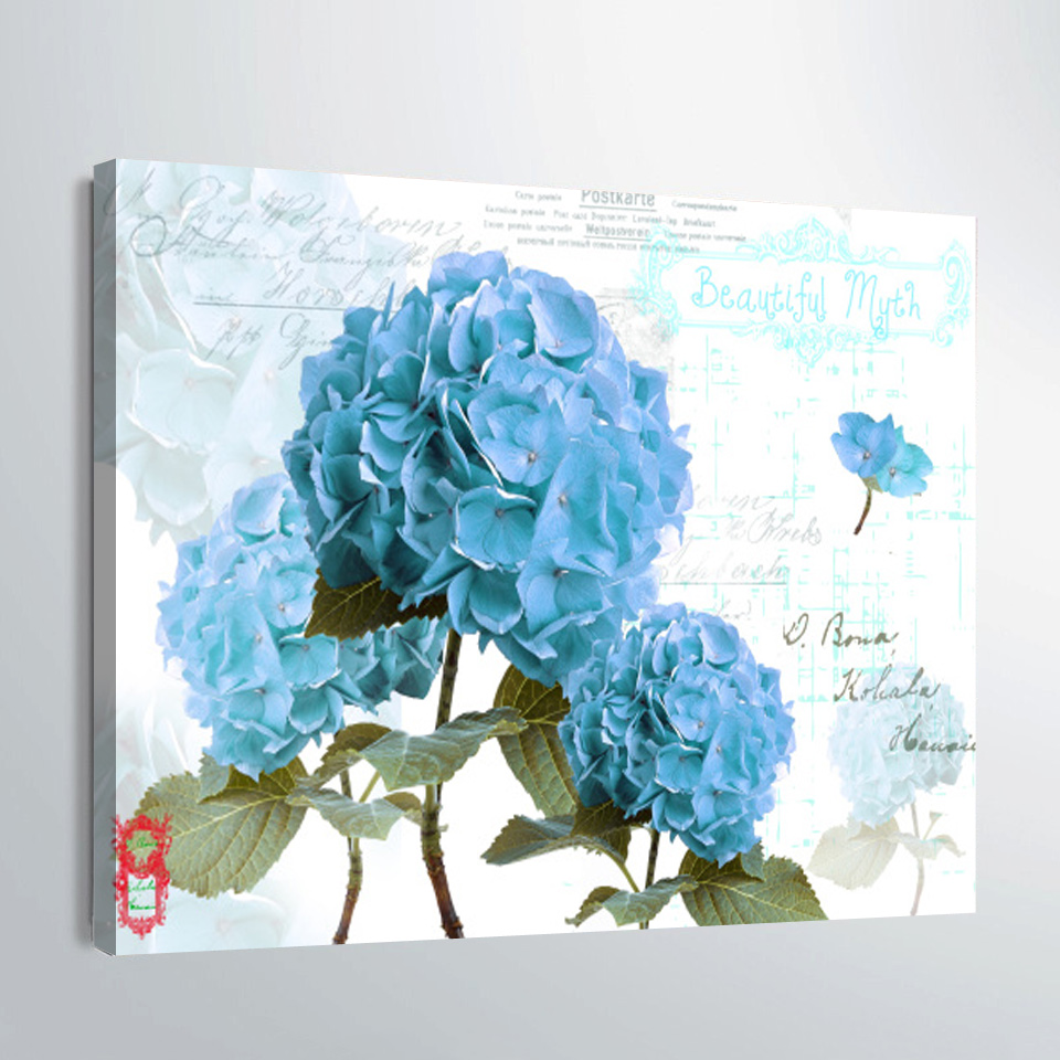 Print Canvas Painting Retro nostalgic Blue hydrangea Wall Art Picture Bar Cafe Home Decoration Living Room Free Shipping-in Painting u0026 Calligraphy from Home ...  sc 1 st  AliExpress.com & Print Canvas Painting Retro nostalgic Blue hydrangea Wall Art ...