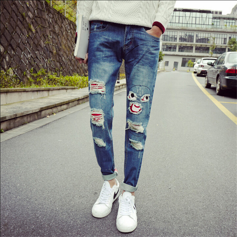 2015 Punk Men Ripped jeans Rock Jeans Pants Hole Patchwork Frayed Vintage Jeans Biker Motorcycle Skinny