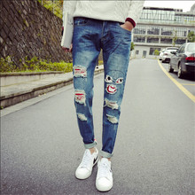2015 Punk Males Ripped denims ,Rock Denims Pants, Gap Patchwork Frayed Classic Denims,Biker Bike Skinny Pants Males