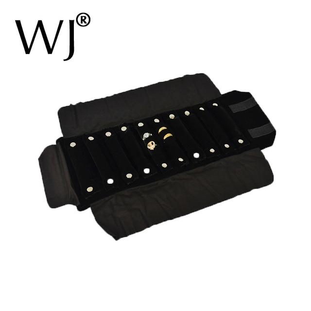 Superior Black Velvet Portable Jewelry Roll Bag For Rings