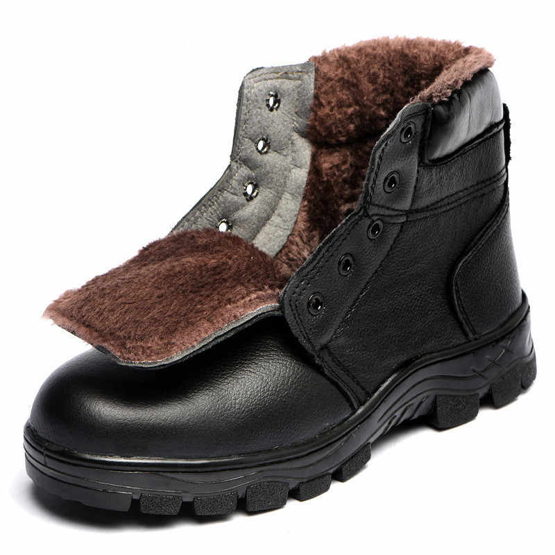 Mens Winter Veiligheid Laarzen Stalen Neus Schoenen Werkschoenen Mode Warm Koe Lederen Laarzen Mannen Koude-proof Tooling Veiligheid schoenen Size36-46