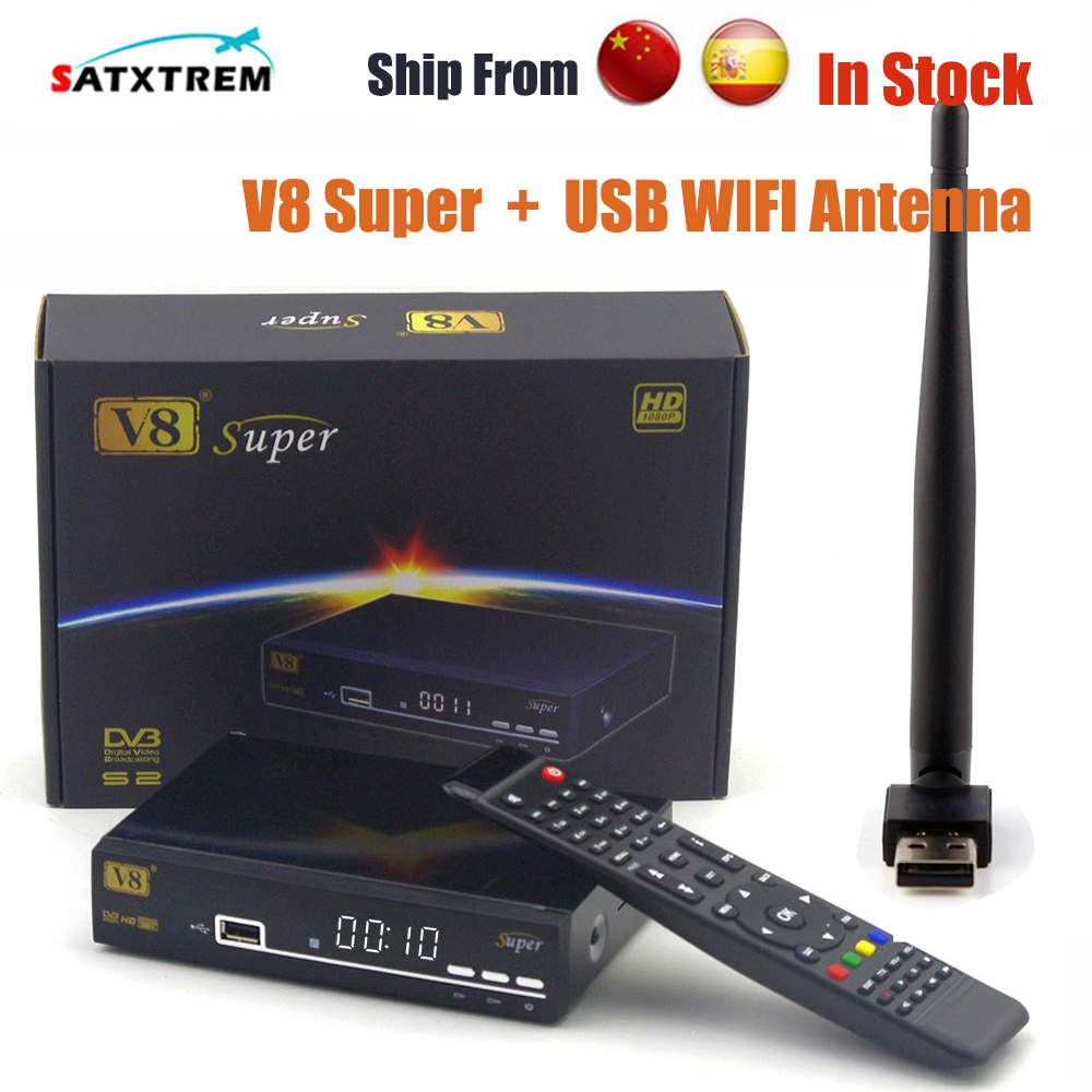 Original Freesat V8 Super receptor DVB-S2 Satellite Receiver upgrade A5S Support PowerVu Biss Key Cccamd Newcamd Youtube Youporn wholesale freesat v7 hd dvb s2 receptor satellite decoder v8 usb wifi hd 1080p support biss key powervu satellite receiver