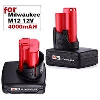 AANTAL 2X4000 mAh 12 v M12 Ion Accu-gereedschap Batterij voor Milwaukee 12 Vlot 48-11-2402 48-11-2440 XC GRATIS P & P